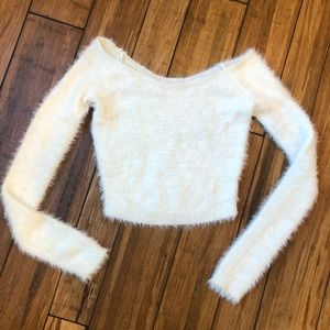 Cropped white fuzzy sweater
